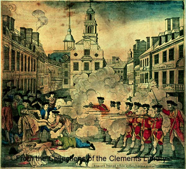 The American Revolution for Kids and Teachers - The Boston Massacre, Repeal of all Townshend Acts except the Tea Tax Illustration